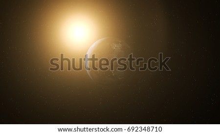 Realistic Earth at Night and Sun Flares around Antarctica #692348710