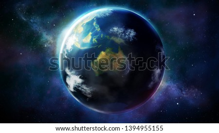 Realistic Earth from space showing Asia, Australia and Oceania