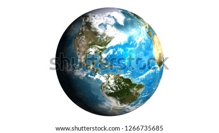 Realistic Earth isolated wite clipping path on white background. Texture map courtesy of NASA.