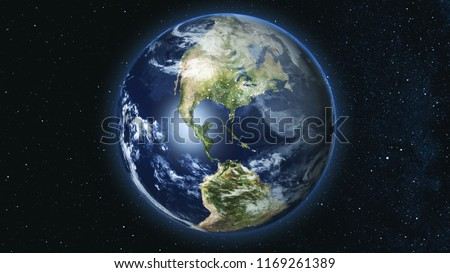 Realistic Earth Planet, rotating on its axis in space against the background of the star sky. Seamless loop. Astronomy and science concept. Night city lights. Elements of image furnished by NASA