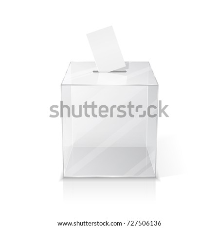 Realistic empty ballot box with voting paper. 3d illustration