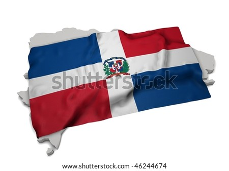 realistic ensign covering the shape of Dominican Republic (isolated shape series)