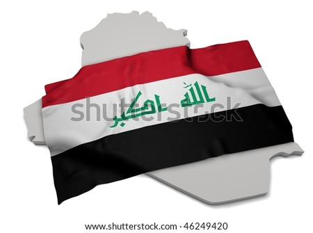realistic ensign covering the shape of Iraq(isolated shape series)