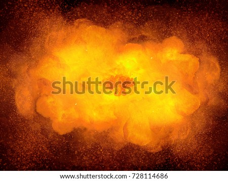 Realistic explosion, orange color with smoke #728114686