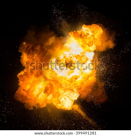 Realistic fiery explosion over a black background #399491281