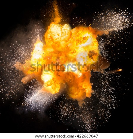 Realistic fiery explosion over a black background  #422669047