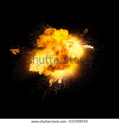 Realistic fiery explosion over a black background #431908930