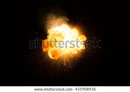 Realistic fiery explosion over a black background #431908936
