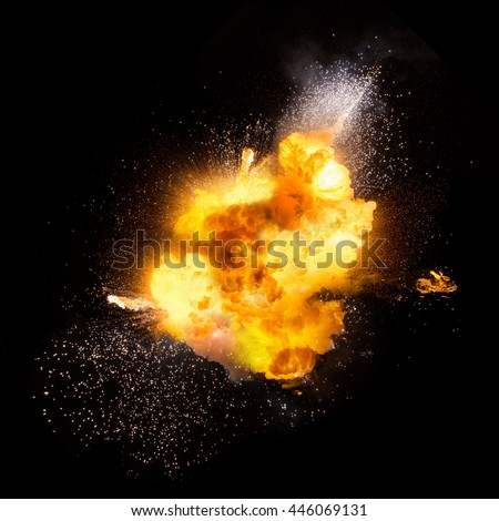 Realistic fiery explosion over a black background #446069131