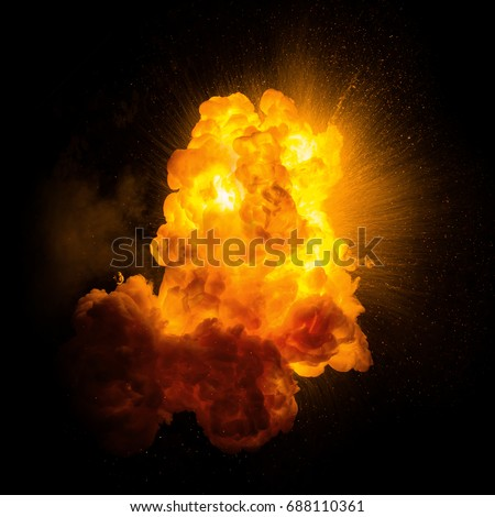 Realistic fiery explosion with sparks over a black background #688110361