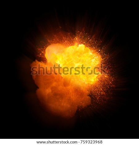 Realistic fire explosion, orange color with smoke and sparks isolated on black background #759323968