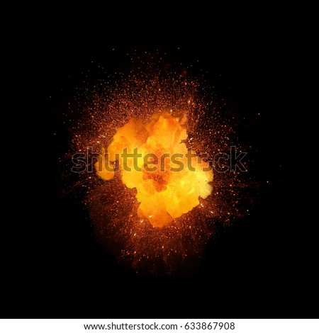 Realistic fire explosion, orange color with sparks isolated on black background #633867908
