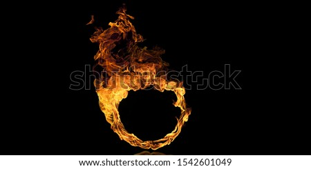 Photo of  Realistic fire Stock Image In Black Background
