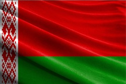 Realistic flag of Belarus on the wavy surface of fabric