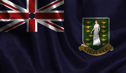 Realistic flag of British Virgin Islands on the wavy surface of fabric. This flag can be used in design.