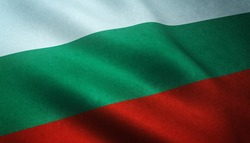 Realistic flag of Bulgaria waving with highly detailed fabric texture.