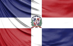 Realistic flag of Dominican Republic on the wavy surface of fabric