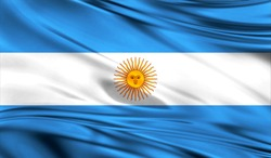 Realistic flag of Flag of Argentina on the wavy surface of fabric. This flag can be used in design