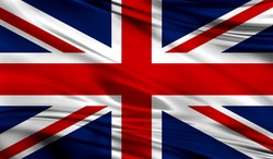 Realistic flag of Flag of United Kingdom on the wavy surface of fabric. This flag can be used in design
