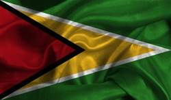 Realistic flag of Guyana on the wavy surface of fabric. This flag can be used in design.