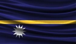 Realistic flag of Nauru on the wavy surface of fabric