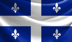Realistic flag of Quebec on the wavy surface of fabric