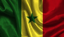 Realistic flag of Senegal on the wavy surface of fabric. This flag can be used in design.