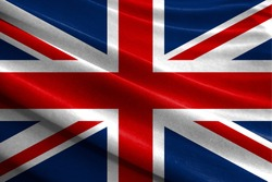 Realistic flag of United Kingdom on the wavy surface of fabric