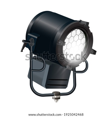 Realistic floodlight, soffit, studio light. Spotlight- isolated on white background.  Stock photo ©