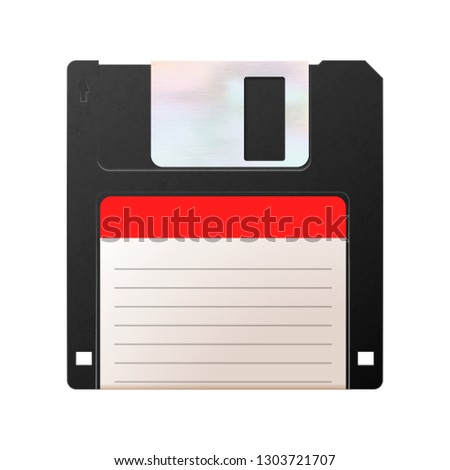 Realistic floppy-disk, retro object on white