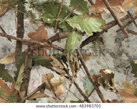 Realistic forest camouflage. Seamless pattern. Branches, green and brown oak leaves. Useable for hunting and military purposes.