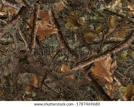 Realistic forest camouflage. Seamless pattern. Conifer and oak branches and leaves. Useable for hunting and military purposes.                                                   Сток-фото ©