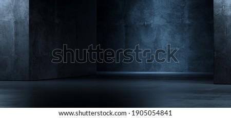 Realistic Garage Underground Blue Light Hallway Tunnel Corridor Sci Fi Futuristic Dark Parking Warehouse Cement Concrete Grunge Showroom Car Asphalt Stage 3D Rendering illustration