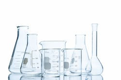 Realistic Glass Laboratory Equipment Set. Flasks and measuring beaker for science experiment in laboratory isolated on white background and clipping path, Scientific equipment