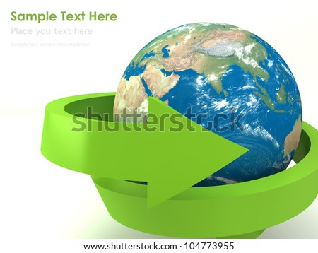 Realistic globe with spiral green arrow for recycle and eco concept