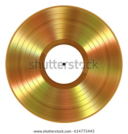 Realistic Gold Vinyl Record On White Background. 3D Illustration.