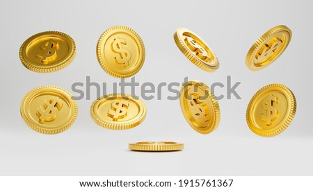 Realistic golden dollar coins movement isolate on white background. Floating coins, Coin dropping, 3D rendering.