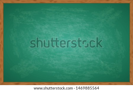 Realistic green chalkboard with wooden frame isolated on transparent background. Template blackboard for design. Rubbed out dirty chalkboard. Empty school chalkboard for classroom or restaurant menu