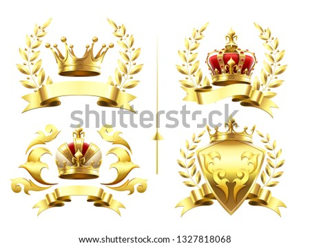 Realistic heraldic emblems. Insignia with golden crown, gold crowning medal emblem with royal crowns on shields 3d isolated set. Luxury laurel wreath king badges, trophy labels retro  icons