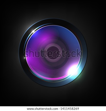 Realistic High Quality Photo Optical Lens . Lens Used For Still Video Camera, Telescope, Microscope And Smartphone Or Other Apparatus. Purple Photographer Equipment 3d Illustration