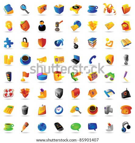 Realistic icons set on white background. Raster version. Vector version is also available.