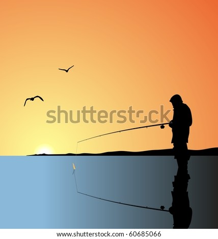 Realistic illustration fishing on lake at a dawn. raster