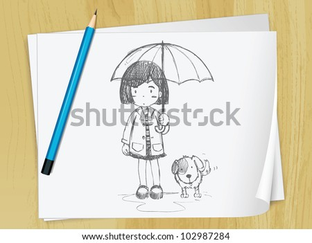 Realistic illustration of a sketch of a girl on a piece of paper - EPS VECTOR format also available in my portfolio.