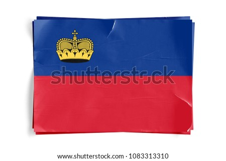 Realistic illustration of Liechtenstein flag on torned, wrinkled, dirty, grunge paper poster. Three of them on top of eachother. 3D rendering.