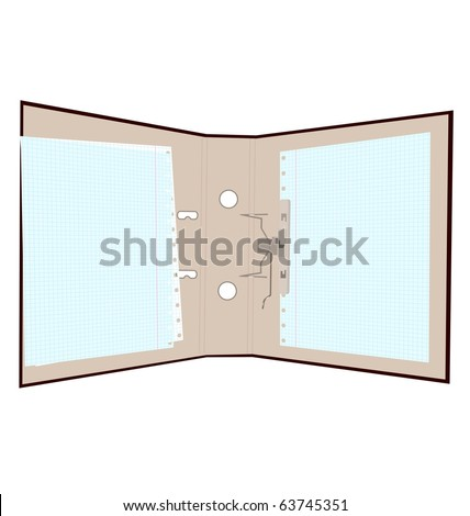 Realistic illustration of open folder with page in cage. Isolated on white background - raster