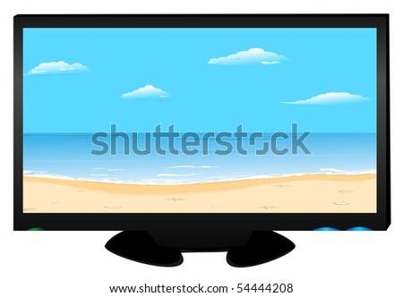 Realistic illustration widescreen plasma TV on white background isolated. Raster. - stock photo