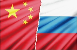 Realistic illustrations of national flags with images of conflicts, competitions and conflicts between nations. China and Russia.