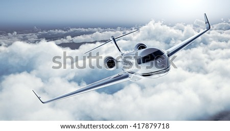 Realistic image of White Luxury generic design private jet flying over the earth. Empty blue sky with white clouds at background. Business Travel Concept. Horizontal. 3D rendering