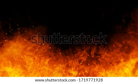 Realistic isolated fire effect for decoration and covering on black background. Concept of particles , sparkles, flame and light. Stock illustration.
