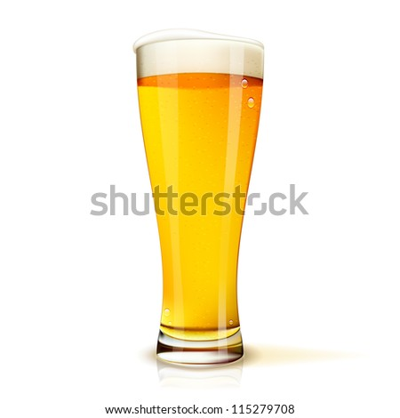 Realistic Isolated glass of beer with drops